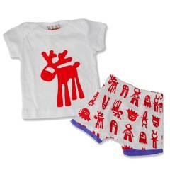 Bubbagrubb Red Reindeer Action Set T-Shirt Top & Shorts
