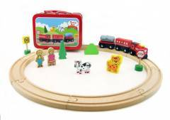 Wooden Train Set In A Tin Carry Case