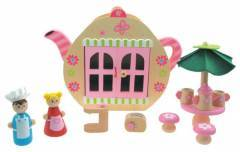 Wooden Teapot Cafe Shop Doll House Play Set