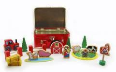 Wooden Farm Animals Set In A Tin Carry Case