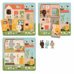 Djeco Rabbit Cottage 3 Layers Wooden Puzzle