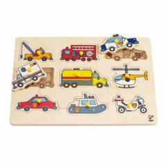 Hape Emergency Vehicles Wooden Peg Puzzle