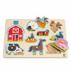 Hape Barn & Farm Animals Wooden Peg Puzzle