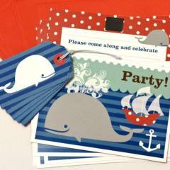 Katy Jane Whale Of A Time Party Fill-In Invitations Set