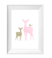 Fawn and Deer Glitter Print Mint or Pink A4 Size
