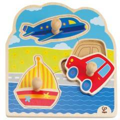 Hape Travel Knob Puzzle Plane Car Sail Boat