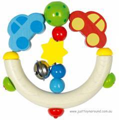 Heimess Wooden Car Rattle Ring Teether