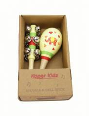 Wooden Elephant Maraca & Bell Stick Set