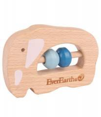 EverEarth Wooden Elephant Grasping Toy Rattle Teether