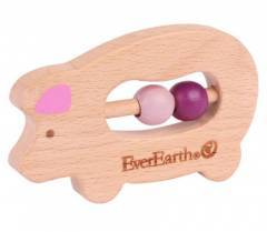 EverEarth Wooden Pig Piglet Grasping Toy Rattle Teether
