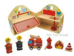 Wooden Fire Station Fire Engine Truck Play Set