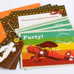 Katy Jane Vintage Plane Party Fill-In Invitations