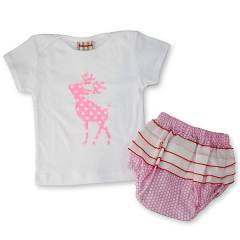 Bubbagrubb Pink Reindeer Pretty In Puff Bloomers & T-Shirt
