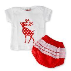 Bubbagrubb Red Reindeer Pretty In Puff Bloomers & T-Shirt