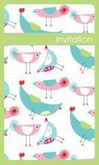 Stylish Birdie Fill-In Invitation Set