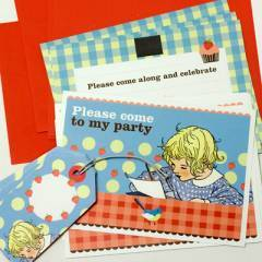 Katy Jane Little Vintage Girl Party Fill-In Invitations